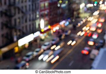 stadslichten, straat, york, verdoezelen, nieuw