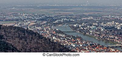 stadsmening, königstuhl, heidelberg, panorama