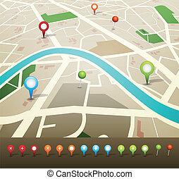 stadsplattegrond, met, navigatiesysteem, spelden, iconen