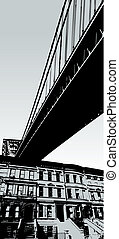 stadsscène, met, brug