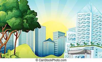 stadsscène, met, groot, gebouwen