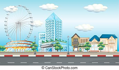 stadsscène, met, wiel ferris, en, gebouwen