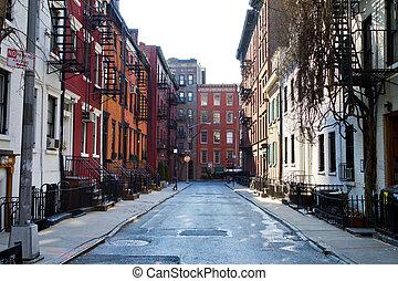 stadsstreet, homosexuell, historisk, york, färsk