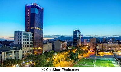 Stadt, Überblick,  Timelapse,  Barcelona, panoramisch, Nacht, Tag