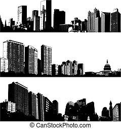 stadt, 3, vektor, skylines
