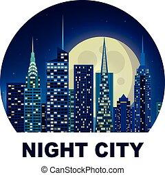 stadt, abbildung, nacht