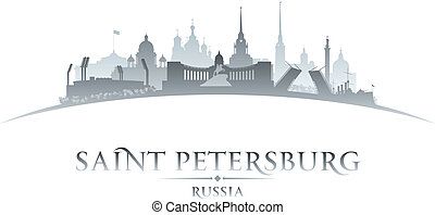 stadt, abbildung, silhouette., skyline, vektor, petersburg,...