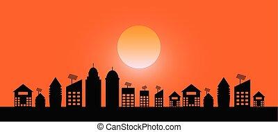 stadt, abend, sonnenuntergang, hintergrund, landschaftsbild, ansicht
