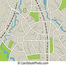 stadt, abstrakt, landkarte