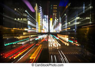 stadt, abstrakt, tokyo, lichter
