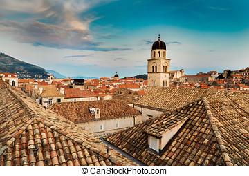 stadt, altes , dächer, dubrovnik, aus, kroatien, ansicht