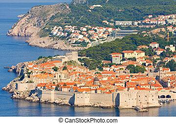 stadt, altes , dubrovnik, sonnenaufgang, früh, kroatien, morgen