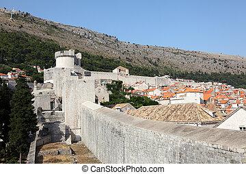 stadt, altes , dubrovnik, wand, verstärkt, kroatien