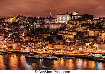 stadt, altes , porto, portugal:, douro, luftaufnahmen, fluß, ansicht