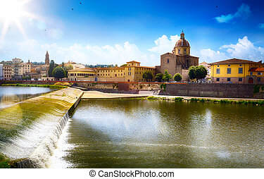stadt, altes , romantische , italy., kunst, florence., toscana;, ansicht