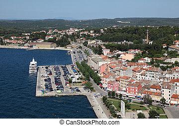 stadt, altes , rovinj, aus, kroatien, luftblick