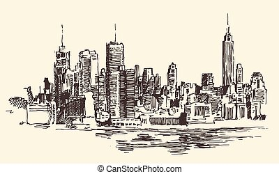 stadt, architektur, abbildung, york, neu , graviert