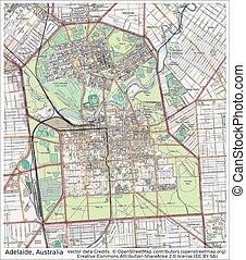 stadt, australia, adelaide, landkarte