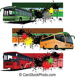 stadt, banner, grunge, drei, bus