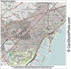 stadt, barcelona, spanien, landkarte