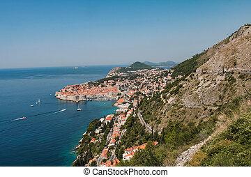 stadt, berg, altes , dubrovnik, kroatien, ansicht