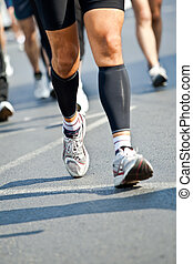 stadt, -, bewegung, rennender , verwischen, marathon, mann