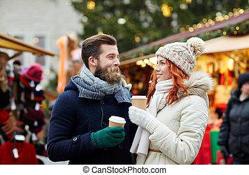 stadt, bohnenkaffee, altes ehepaar, straße, trinken, glücklich