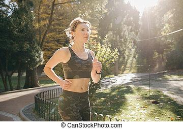 stadt, brünett, läufer, kopfhörer, park, bluetooth, rennender , airpods, attraktive, weibliche , kopfhörer