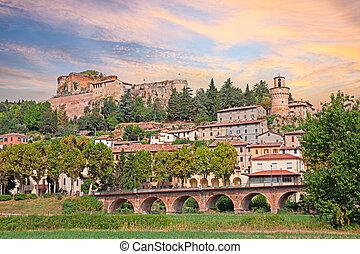 stadt, castrocaro, italien, terme, cityscape, spa