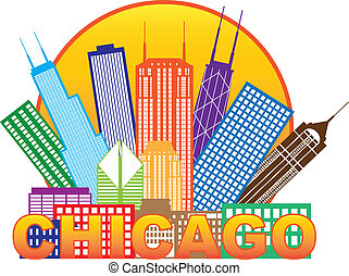 stadt, chicago, farbe, abbildung, skyline, kreis