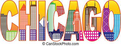 stadt, chicago, farbe, text, abbildung, skyline