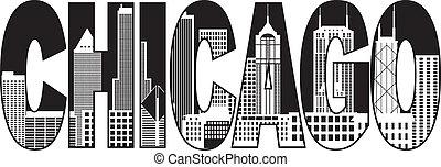 stadt, chicago, text, abbildung, skyline, schwarz, weißes