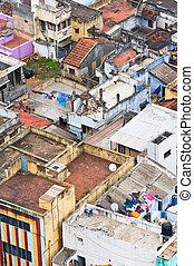 stadt, city., gefärbt, überfüllt, (trichy), houses., indien,...