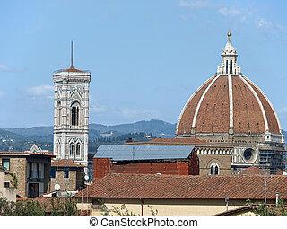 stadt, dächer, duomo, -, kuppel, campanila, oben, florenz, ...
