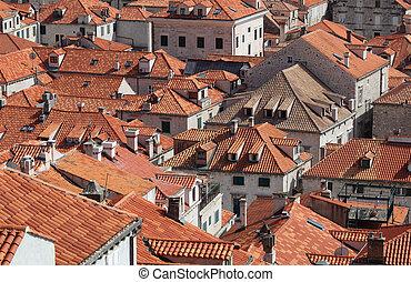 stadt, dubrovnik, dachenden, kroatien, mittelalterlich