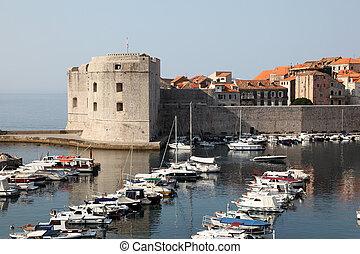 stadt, dubrovnik, verstärkt, jachten, historisch, kroatien, front