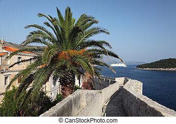 stadt, dubrovnik, wand, verstärkt, kroatien, ansicht