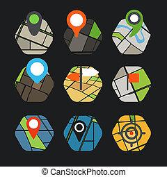 stadt, elemente, landkarte, collection., abstrakt, symbole, design