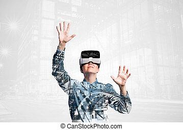 stadt, exposure., frau, doppelgänger, virtuelle wirklichkeit, nacht, goggles.