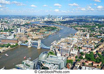 stadt, fluß, london, themse, oben