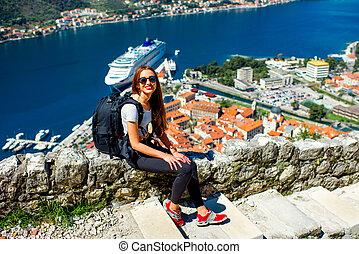 stadt, frau, altes , montenegro, kotor, reisen