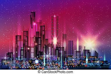 stadt, gebäude, erleuchtet, gebäude, architektur, straße, abbildung, downtown., skyline, megapolis, nacht, cityscape, wolkenkratzer