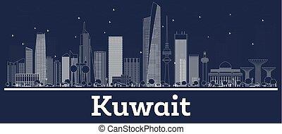 stadt, gebäude., kuwait, skyline, weißes, grobdarstellung