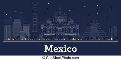 stadt, gebäude., mexiko, skyline, weißes, grobdarstellung