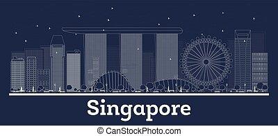 stadt, gebäude., singapur, skyline, weißes, grobdarstellung