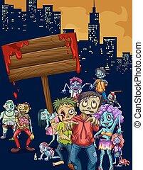 stadt, gehen, zombies
