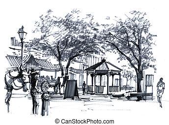 stadt, georgia, alte stadt, usa, savanne, zeichnung, markt