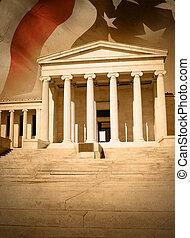stadt, gerechtigkeit, gesetz, gerichtsgebäude, mit, fahne