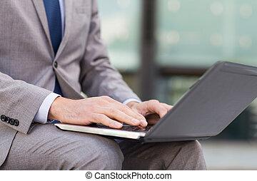 stadt geschäft, laptop, ende, mann