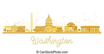 stadt, goldenes, washington dc, silhouette., skyline